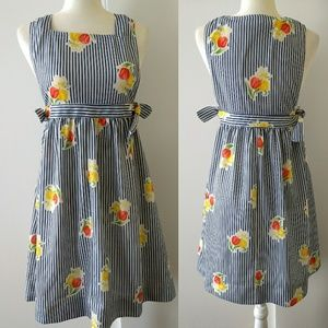 Vintage Overall Striped Dress With Daffodils